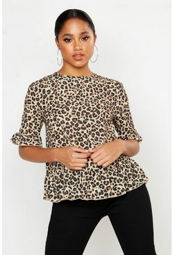 Womens Beige Woven Leopard Button Back Shell Top