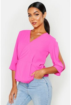 Womens Cerise Split Sleeve Tie Waist Peplum Top