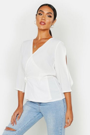 Womens White Split Sleeve Tie Waist Peplum Top