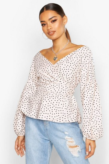 Womens Cream Polka Dot Bardot Wrap Blouse
