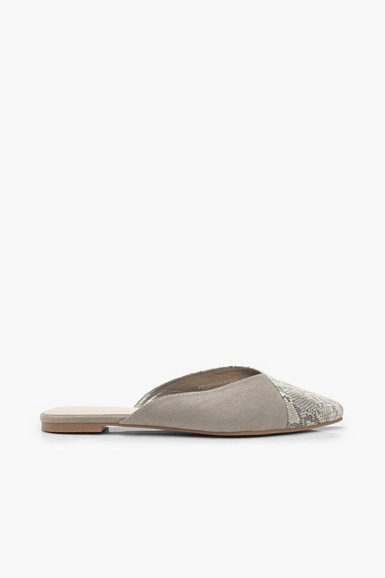 Snake Pointed Flat Mules