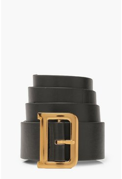 Womens Black D Buckle Belt