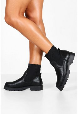 Sock Detail Snake Chunky Chelsea Boots, Black, ЖЕНСКОЕ