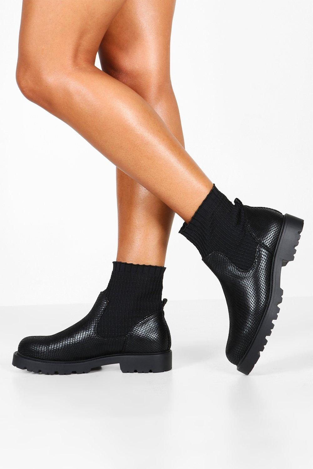 half off well known a few days away Sock Detail Snake Chunky Chelsea Boots | Boohoo
