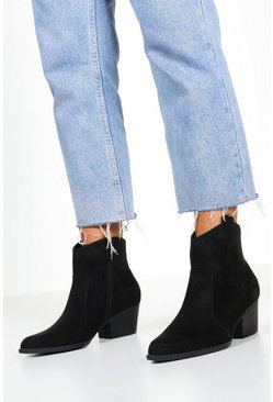 Wide Fit Western Boots, Black, ЖЕНСКОЕ