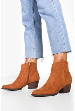 Wide Fit Western Boots, Tan, ЖЕНСКОЕ