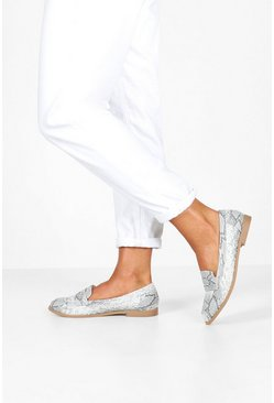 Wide Fit Snake Flat Loafers, Natural, MUJER
