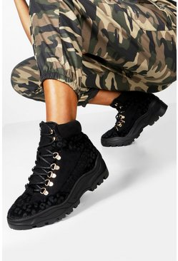 Womens Black Tonal Leopard Panel Hiker Trainers