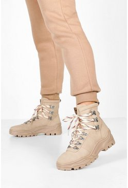 Womens Taupe Chunky Hiker Trainers