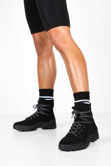Black Chunky Hiker Trainers