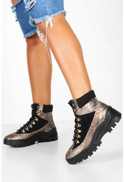 Tonal Chunky Metallic Hiker Trainers, Grey, Femme