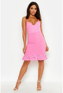 Pink Lace Ruffle Strap Back Mini Dress