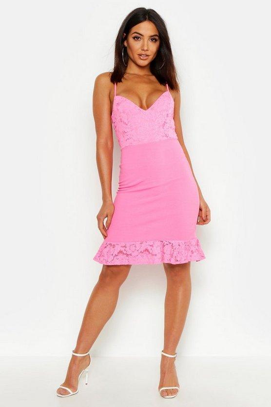 lace-ruffle-strap-back-mini-dresslace-ruffle-strap-back-mini-dress by boohoo