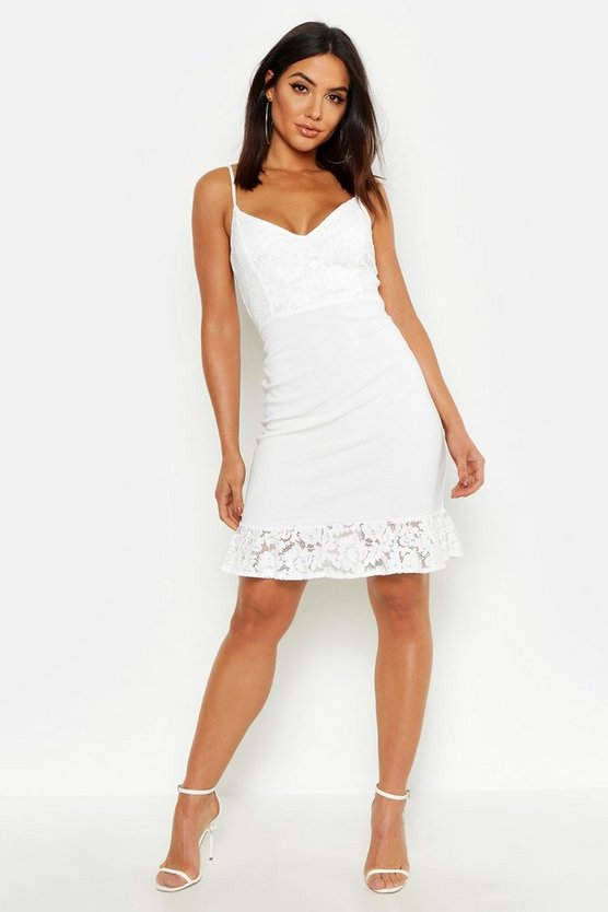 Womens White Lace Ruffle Strap Back Mini Dress