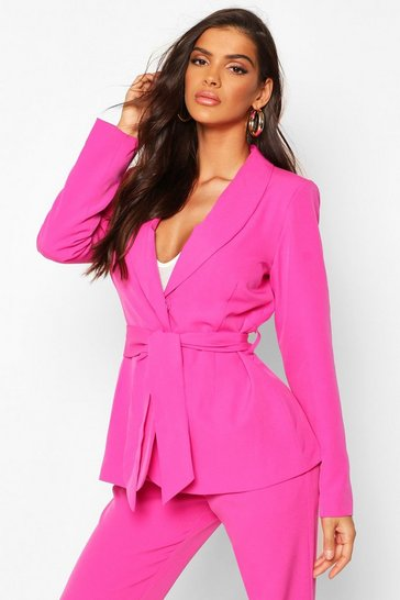 Womens Fuchsia Single Breasted Belted Blazer