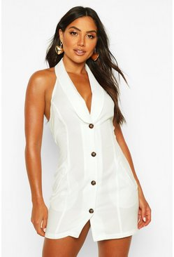 Ivory Halterneck Sleeveless Blazer Dress
