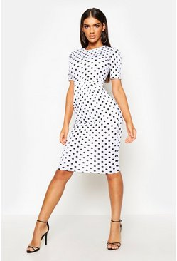 White Spot Print Tailored Midi Dress