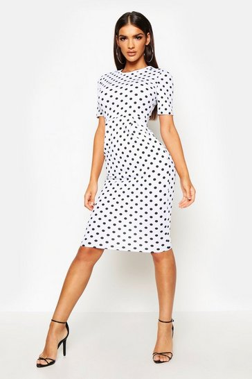 Womens White Spot Print Tailored Midi Dress