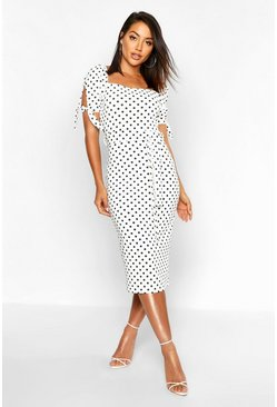 Womens White Polka Dot Belted Midi Dress