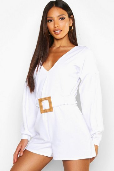Womens White Belted Tailored Playsuit