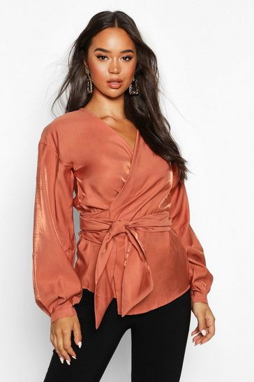Rust Metallic Fabric Wrap Top Blouse
