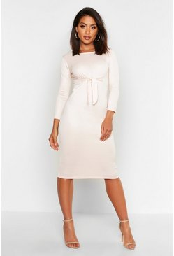 Blush Twist Front Midi Dress