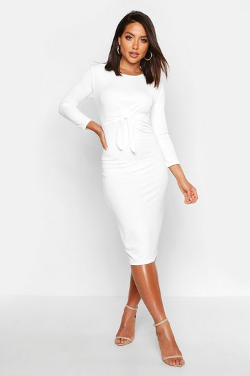 Womens Ivory Twist Front Midi Dress
