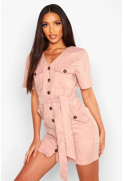 Womens Nude Suedette Button Down Belted Utility Dress