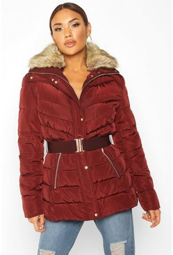 Womens Berry Belted Faux Fur Trim Puffer Jacket