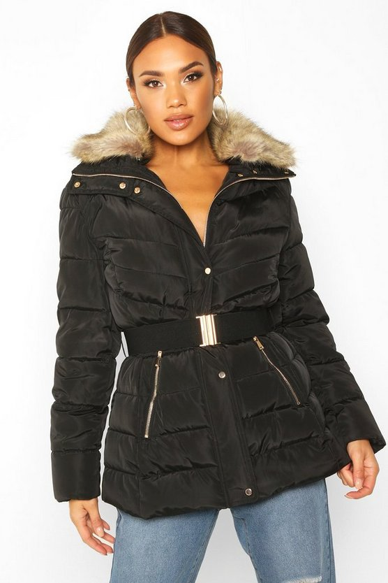 Black Belted Faux Fur Trim Puffer Jacket