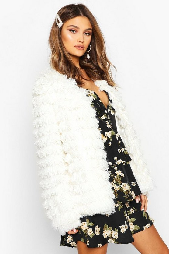 Cream Panelled Shaggy Faux Fur Jacket