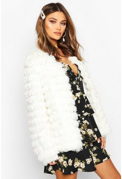 Panelled Shaggy Faux Fur Jacket, Cream, Femme