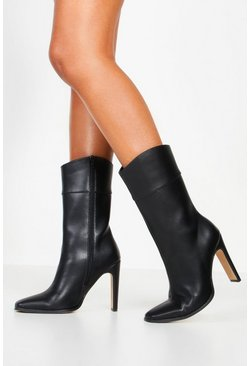Womens Black Calf High Flat Heel Boots