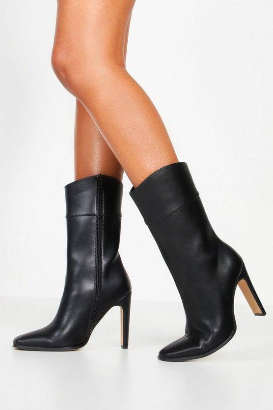 Calf High Flat Heel Boots