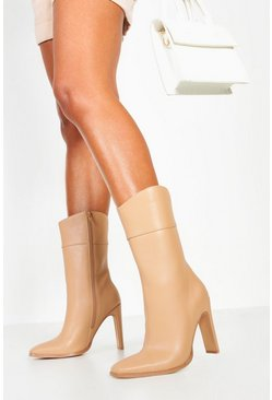 Womens Tan Calf High Flat Heel Boots