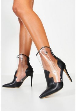Clear Panel Heeled Western Boots, Black