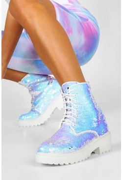 Sequin Chunky Hiker Boots, White
