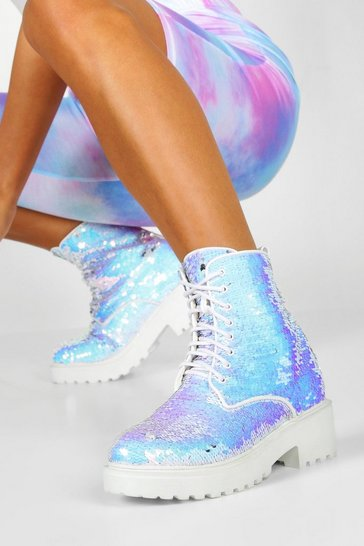 Womens White Sequin Chunky Hiker Boots