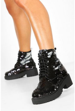 Womens Black Sequin Chunky Hiker Boots