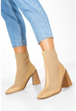 Knit Panel Block Heel Sock Boots, Nude, Donna