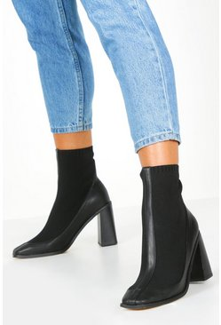 Dam Knit Panel Black Heel Sock Boots