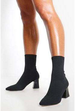 Womens Black Knitted Low Block Heel Sock Boots