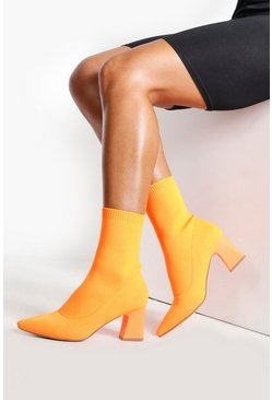 Womens Orange Knitted Low Block Heel Sock Boots