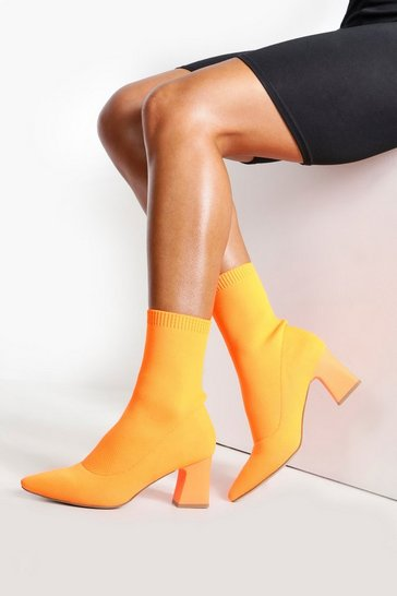 Orange Knitted Low Block Heel Sock Boots
