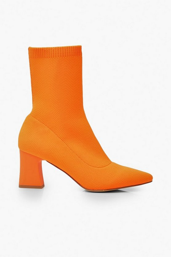 Knitted Low Block Heel Sock Boots