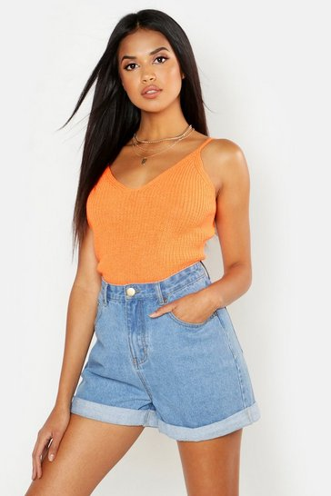 Womens Orange V Neck Knitted Strappy Top