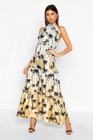 Womens Tan Palm Print High Neck Column Maxi Dress