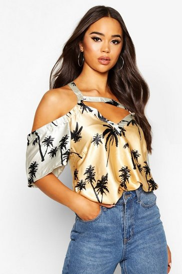 Womens Black Palm Print Cold Shoulder Woven Top