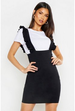 Womens Black Ruffle Strap Pinafore Dress