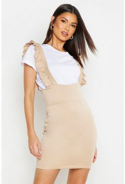 Womens Stone Ruffle Strap Pinafore Dress
